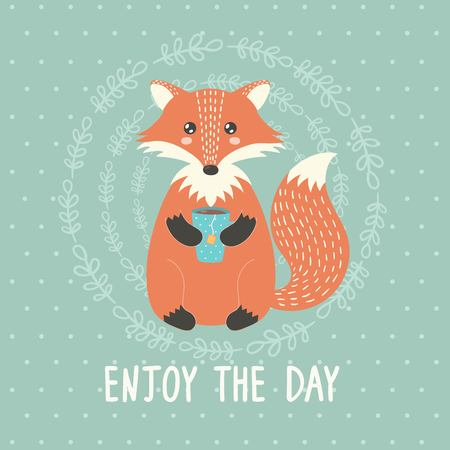 have: Enjoy the day card with a cute fox. Vector illustration Illustration