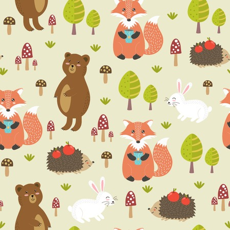 Forest seamless pattern in childish style with cute bear, fox, rabbit and hedgehog. Vector illustration