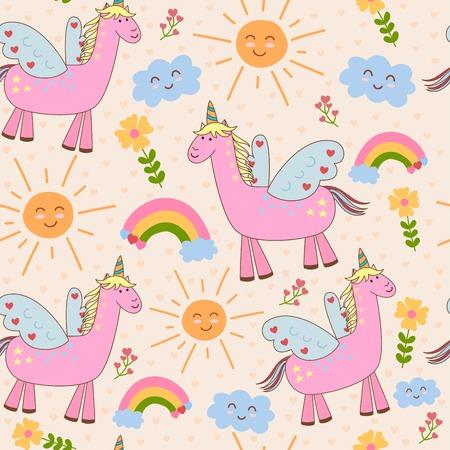 ユニコーン、太陽、雲、虹、かわいいシームレス パターン。子供のベクトルの背景