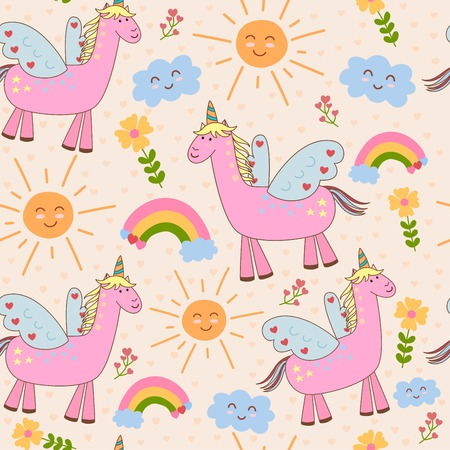 Cute seamless pattern with unicorn, sun, cloud and rainbow. Vector childish background Illustration