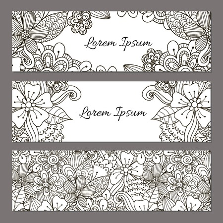 Floral Doodle Banners Set Black And White Beautiful Flyer Templates