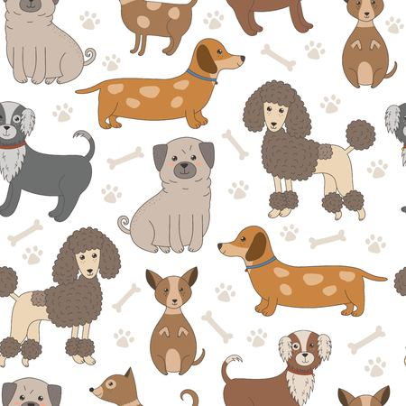 bobtail: Seamless pattern with cute dogs. Vector texture with funny cartoon characters