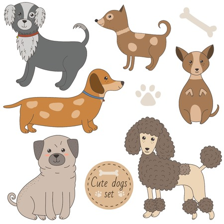 bobtail: Cute dogs set. Funny pets collection. Vector illustration