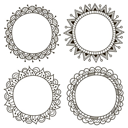 Cute doodle frames. Black and white frames for your design or coloring book. Vector illustration