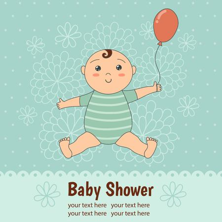 honoring: Baby shower card with a cute baby boy. Illustration