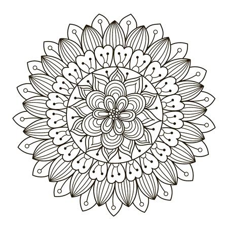 Mandala Floral Hermosa De Deco. Patrón Redondo Del Ornamento Del ...