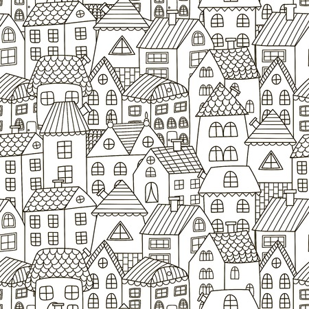 Doodle houses seamless pattern.