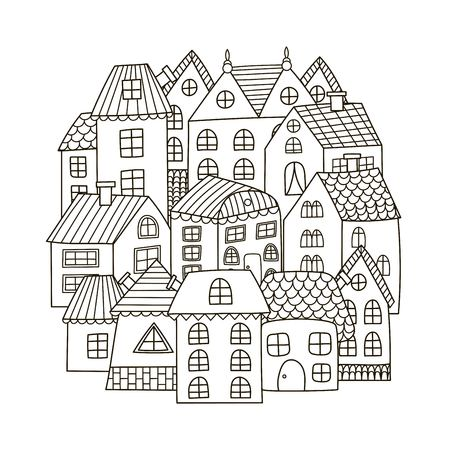 Circle shape pattern with houses for coloring book. Illustration