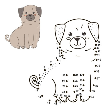 Connect the dots to draw the cute dog and color it. Illustration