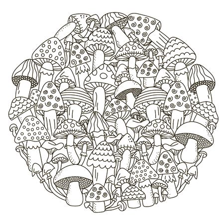 Circle shape pattern with fantasy mushrooms for coloring book. Black and white background.