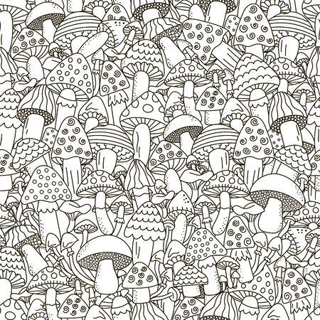 Doodle mushrooms seamless pattern. Illustration