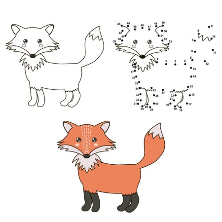 Cute cartoon fox. Coloring and dot to dot educational game for kids.