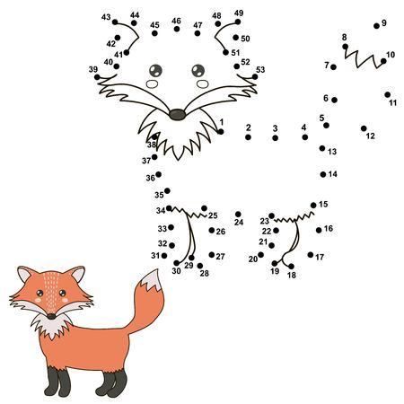 Verbinde Die Punkte Einen Niedlichen Fuchs Zu Zeichnen Und Sie ...