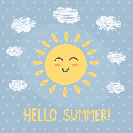 sunshine: Hello Summer card with a cute sun.