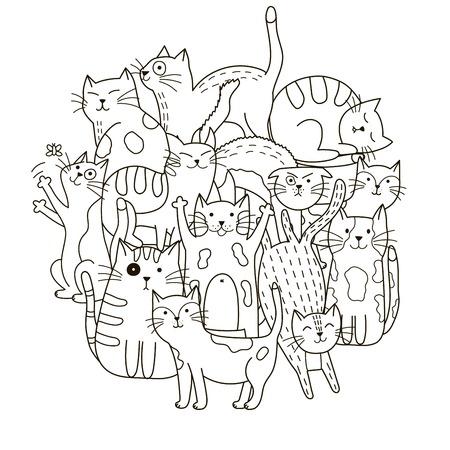 Patrón de forma de círculo con gatos lindos para colorear