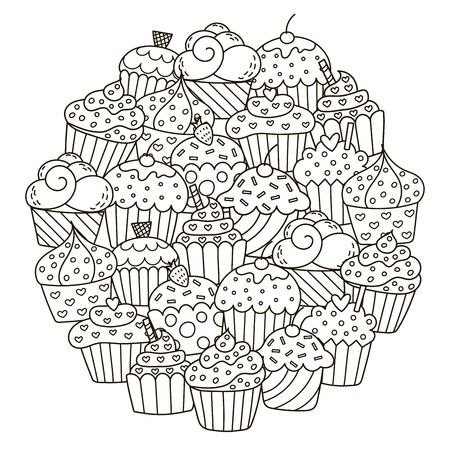 Circle shape pattern with cute cupcakes for coloring book.