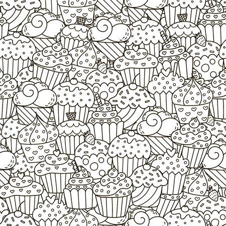 黒と白のカップケーキのシームレスなパターン。手描きのマフィンの背景。本、包装、印刷、ファブリック、繊維の着色に最適です。  イラスト・ベクター素材