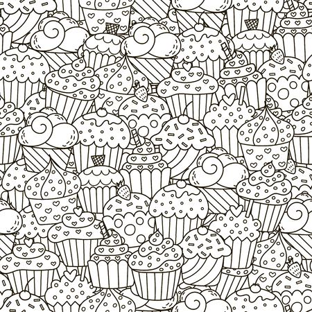 Black and white cupcakes seamless pattern. Hand drawn muffins background. Great for coloring book, wrapping, printing, fabric and textile.