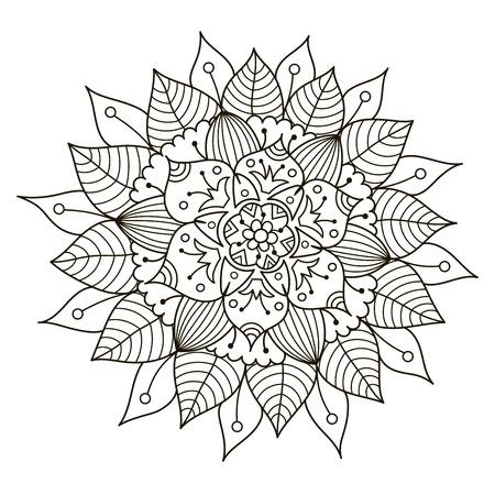 Patrón De La Forma Del Círculo Con Las Flores Lindas Para Colorear ...