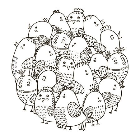 owl illustration: Circle shape pattern with cute birds for coloring book. Coloring page for adults and children.
