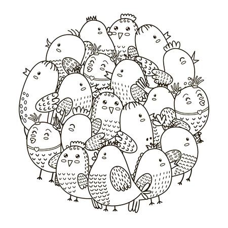 girotondo bambini: modello forma di cerchio con gli uccelli svegli per libro da colorare. colorare per adulti e bambini.