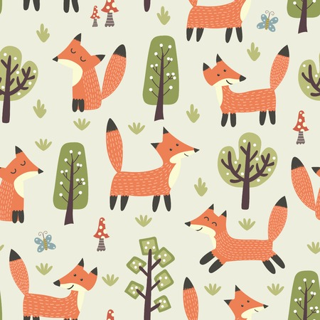 Forest seamless pattern with cute little foxes and trees. texture in childish style great for fabric and textile, wallpapers, web page backgrounds, cards and banners design