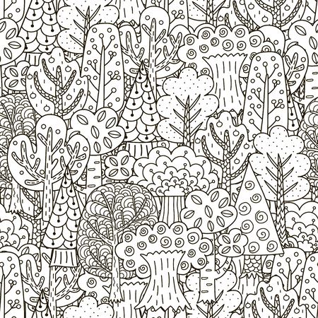 Fantasy forest seamless pattern. Black and white trees background. Great for coloring book, wrapping, printing, fabric and textile. Vector illustration