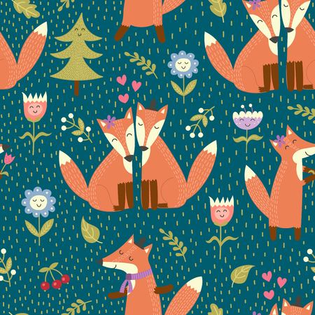 Seamless pattern with cute foxes in the woods. Vector forest texture in childish style great for fabric and textile, wallpapers, web page backgrounds, cards and banners design
