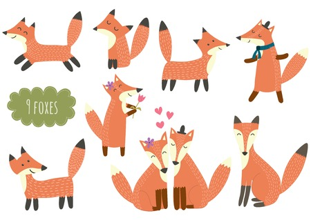 clever: Cute foxes collection. Cartoon forest animal set. Vector illustration