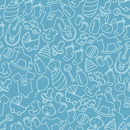 baby boys: Baby shower doodle seamless pattern. Blue background for boys. Cute icons texture great for fabric, textile design, kid clothes, birthday greetings, party invitations and wrapping. Vector illustration