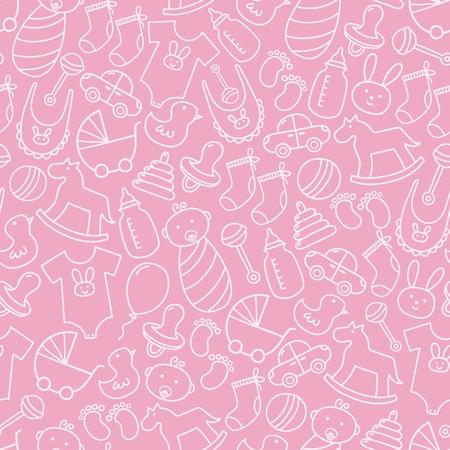 Baby shower doodle naadloos patroon. Roze achtergrond voor meisjes. Vector illustratie Stock Illustratie