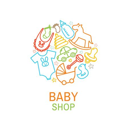 Vector logo template of baby shop with toys and clothes in linear style. Vector illustration Иллюстрация