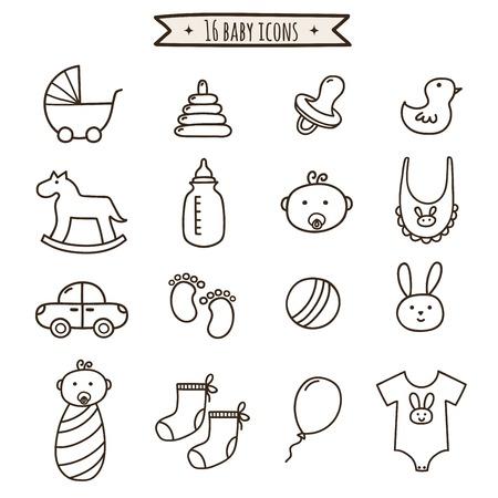 아기 낙서 아이콘이 설정합니다. 귀하의 디자인에 대 한 귀여운 기호 컬렉션입니다. 벡터 일러스트 레이 션