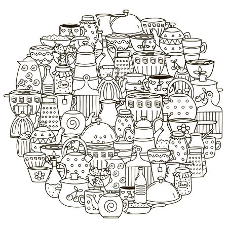 pans: Circle shape pattern with dishes for coloring book. Black and white background with pans, cups, teapots and other kitchen things.