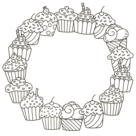 anti season: Black and white frame with cute cupcakes for coloring book Illustration