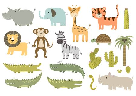 Cute isolated safari animals collection. Great for baby shower and kids design. Giraffe, lion, hippo, crocodile, zebra, tiger, rhinoceros, monkey and other. Vector illustration