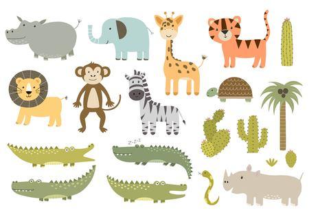 Mignon isolé animaux de safari collection. Idéal pour les baby shower et conception d'enfants. Giraffe, lion, hippopotame, crocodile, zèbre, tigre, le rhinocéros, le singe et d'autres. Vector illustration Vecteurs
