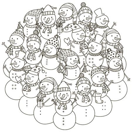 El Patrón De Forma De Círculo Con Los Muñecos De Nieve Lindos Para ...
