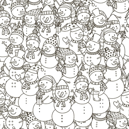 Black and white snowmen seamless pattern. Monochrome christmas background. Great for coloring book, wrapping, printing, fabric and textile. Vector illustration Illustration