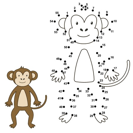 Connect the dots to draw the cute monkey and color it. Educational numbers and coloring game for children. Vector illustration