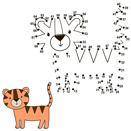joining the dots: Connect the dots to draw a cute tiger and color it. Educational numbers and coloring game for children. Vector illustration