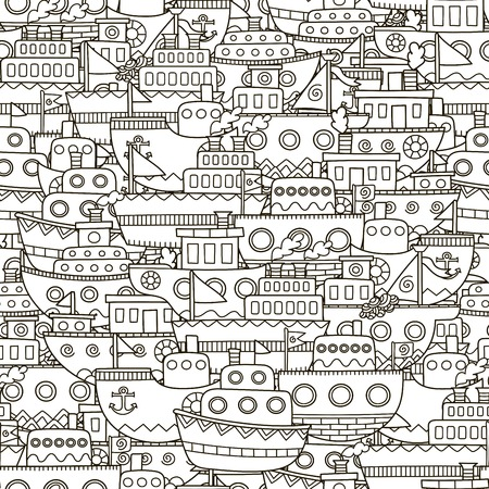Doodle boats seamless pattern. Black and white ships background. Great for coloring book, wrapping, printing, fabric and textile. Vector illustration Ilustração