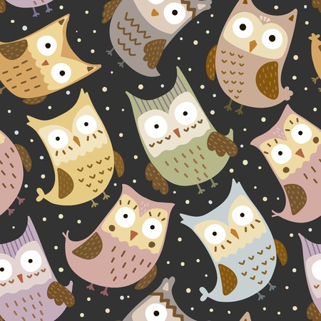 childish: Cute owls seamless pattern. Vector texture in childish style great for fabric and textile, wallpapers, web page backgrounds, cards and banners design
