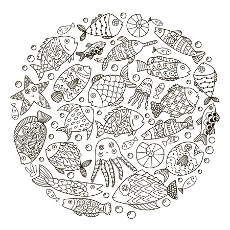 Circle shape pattern with cute fantasy fish for coloring book. Sea life black and white background.  illustration
