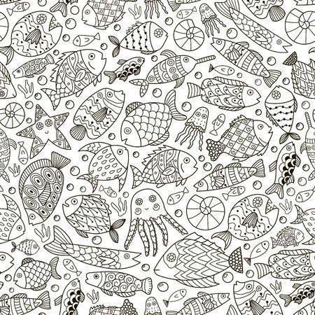 Fantasy ocean collection with doodle fish for adult coloring book. Black and white sea life background in line art style.  illustration Ilustrace