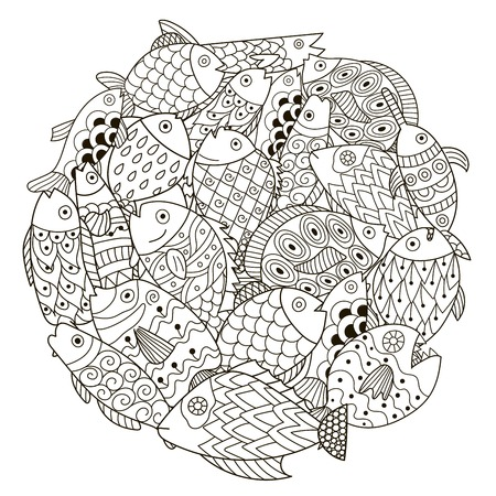 cartoon adult: Circle shape pattern with ornamental fish for coloring book. Zen art. Vector illustration
