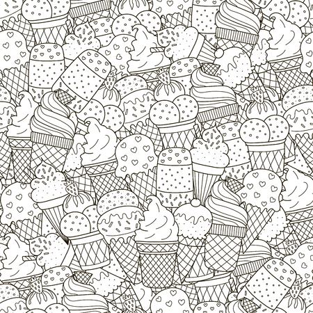Black and white ice creams seamless pattern. Hand drawn monochrome background. Great for coloring book, wrapping, printing, fabric and textile. Vector illustration