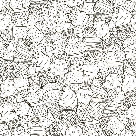 Il bianco e il bianco gelato senza cuciture. Fondo monocromatico disegnato a mano. Ideale per libri da colorare, confezioni, stampe, tessuti e tessuti. Illustrazione vettoriale Vettoriali