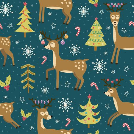 Christmas seamless pattern with cute deers. Winter background with funny reindeers. Vector illustration