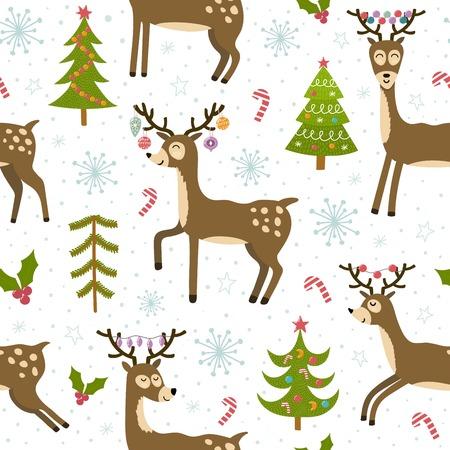 Modèle sans couture mignon de cerfs de Noël. Fond d'hiver avec Rennes drôle. Illustration vectorielle Vecteurs